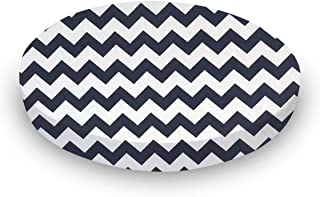 product image for SheetWorld Fitted Oval (Stokke Mini) - Navy Chevron Zigzag - Made In USA
