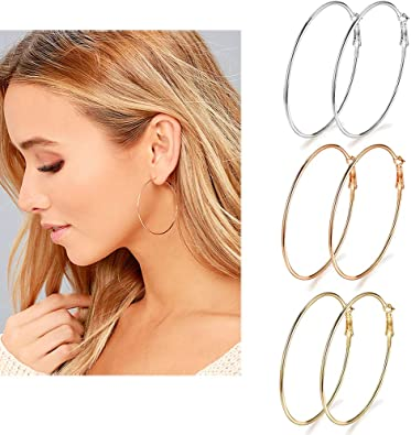GOLD 3.15-inch Fashion Large Hoop Earring Pair