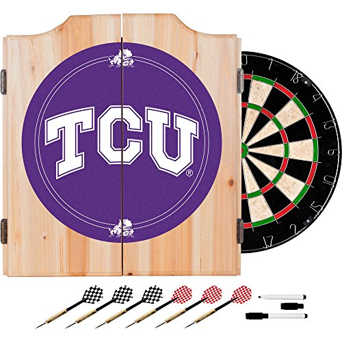 NCAA Texas Christian University Wood Dart Cabinet Set