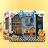 17pcs in a Box Kawaii Cute stationary Cartoon kids stationery sets for girls kids School Student classroom storage