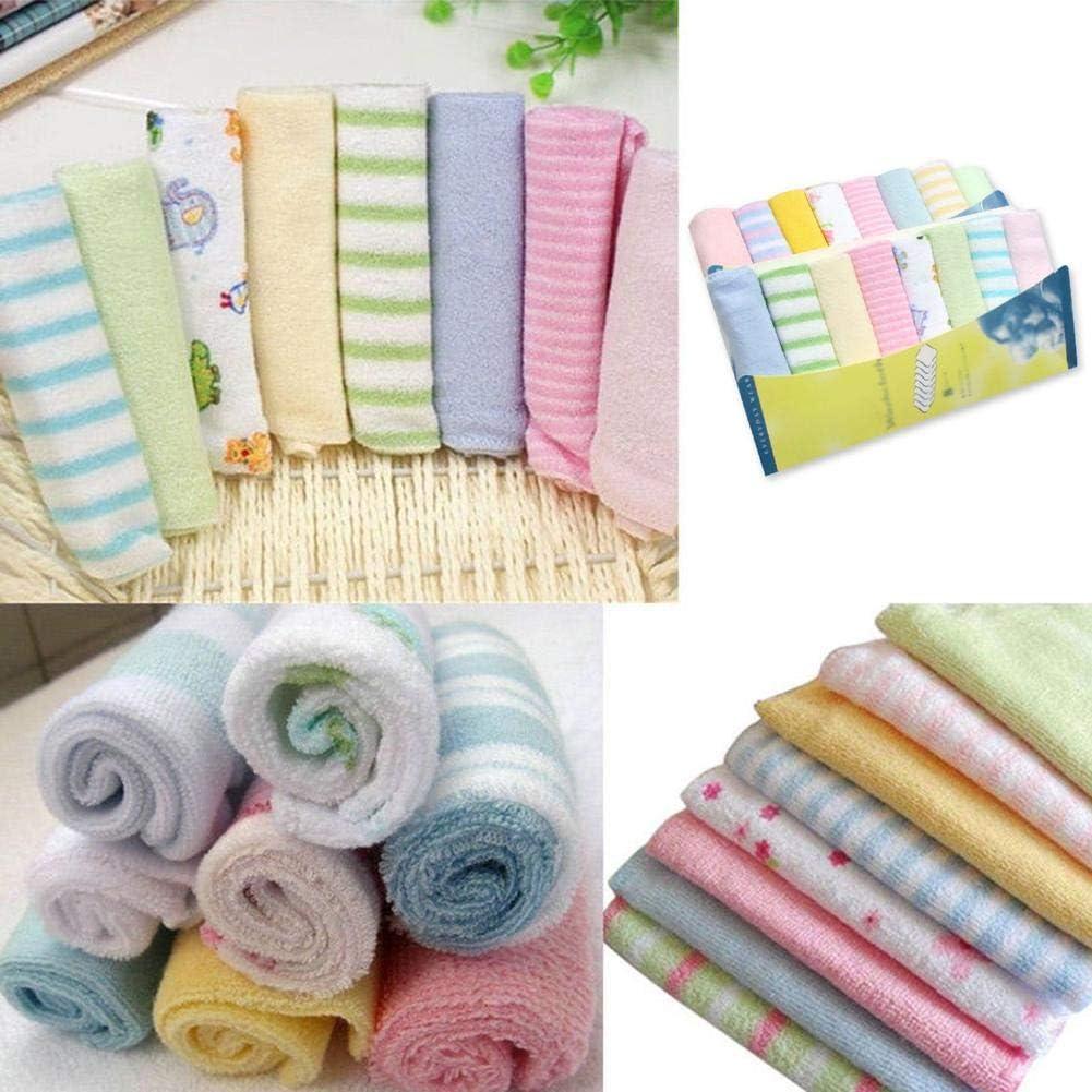 Rlorie 8pcs//Set Baby Washcloths 8 Pack Extra Soft Face//Shower Towels for Newborn Baby Reusable Baby Wipes Cotton Extra Soft Wash Cloth Ultra-Soft /& Absorbent Towels for Babys Sensitive Tremendous