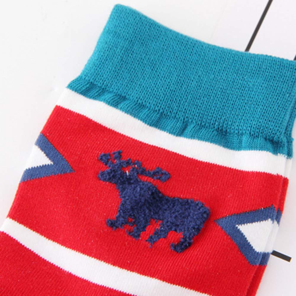 GzxtLTX Crew Socks Christmas Elk Stripe Printed Cozy Soft Winter Festive Holiday Design Christmas Gifts for Girls Boys Women