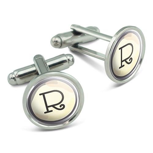 Letra R clave de máquina de escribir de hombre gemelos Cuff Links Set: Amazon.es: Joyería