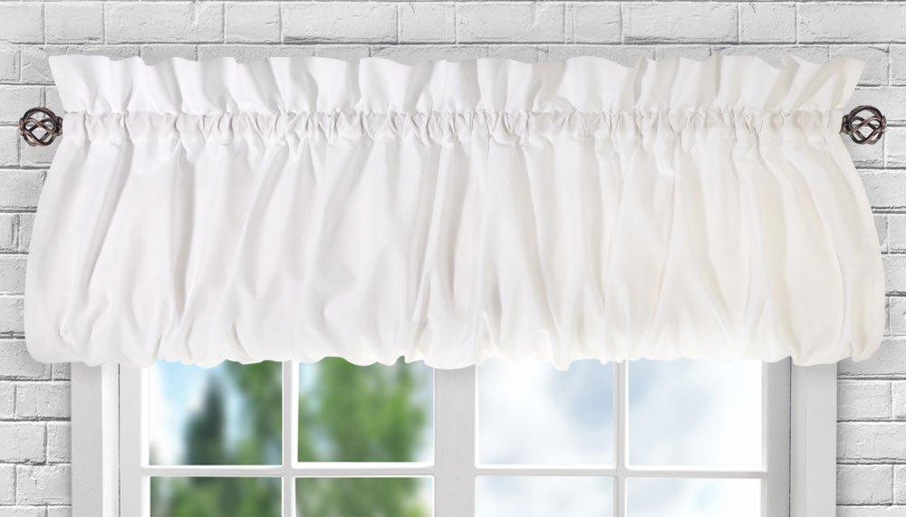 "Ellis Curtain Stacey Sheer Balloon Valance, 60"" x 15"", White"