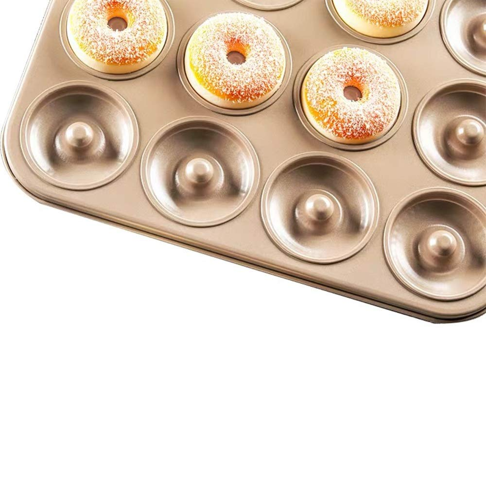 Chenteshangmao Kitchen Home Baking Tools, Cookie Cake Bread Chocolate Doughnut Creative Not Easy To Get Rid Of Mold, Golden Carbon Steel (37.5 X 27.5 X 2.5cm) Characteristic mold