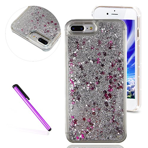 Silver Case Hard Stars Protective - iPhone 7 + Case,EMAXELER 3D Angel Girl Series Brilliant Luxury Bling Glitter Liquid Floating Moving Hard Protective Case for Apple iPhone 7 Plus 5.5