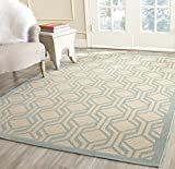 Safavieh Courtyard Collection CY6114-213 Beige and Aqua Indoor/Outdoor Area Rug (8′ x 11′) For Sale