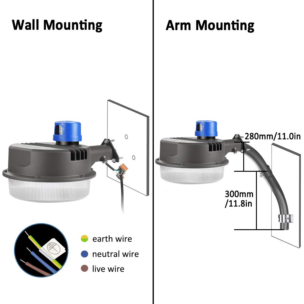 70W LED Barn Lights LEDMO - with Monuting Arm 9100lm Dusk to Dawn LED Outdoor Security Flood Lights with Photocell Area Lighting 5000K Daylight LED Yard Lights Brightest Waterproof by LEDMO (Image #6)