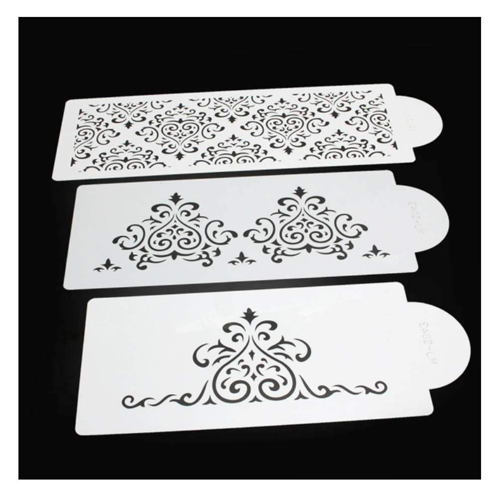 Cake Stencils, DIY Cookie Practical Lace Flower Cake Cookie Fondant Side Baking Stencil Wedding Decorating Tool,5Pcs by Cake Stencils (Image #4)