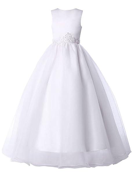 26c45fd39 GK Blumenmaedchen - Vestido - trapecio - para niña blanco 1 11-12 ...