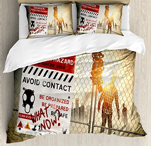 Ambesonne Zombie Decor Duvet Cover Set Queen Size, Dead Man Walking Dark Danger Scary Scene Fiction Halloween Infection Picture, Decorative 3 Piece Bedding Set with 2 Pillow Shams, -