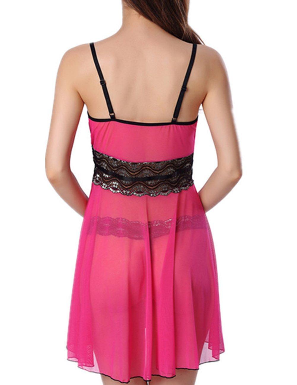 d9a9acbc6 Yiwa 2PCS Sexy Gauze Lace Pajamas Set Seductive T-Back   Braces Skirt  Valentine s Gift Flirting Sex Toy  Amazon.ca  Health   Personal Care