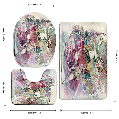 3 Piece Bath Mat Rug Set,Watercolor,Bathroom Non-Slip Floor Mat,Oriental-Dance-Theme-Young-Girl-Performing-in-Traditional-Costume-Fantasy-Figure,Pedestal Rug + Lid Toilet Cover + Bath Mat,Multicolor by iPrint (Image #3)