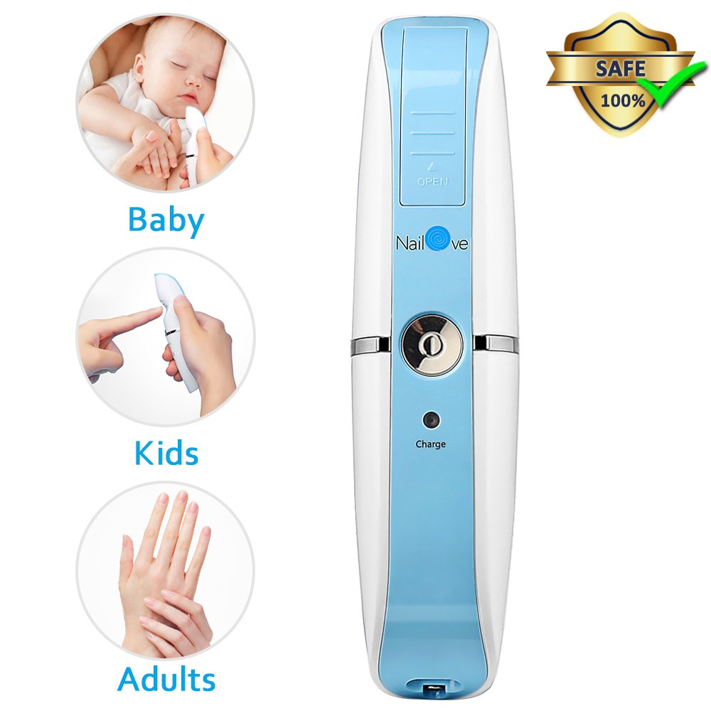 Baby Nail File, Comsoon Electric Nail Clippers Automatic Nail Trimmer Manicure [Care, Cut, Trim and Polish], 100% Safe for Newborn Toddler Kids or Adult, Ceramic Grinding Heads, USB Charging (Blue)