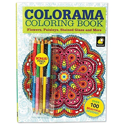 Colorama Coloring Book With 100+ Flowers, Paisleys, Stained Glass And More (Glass Stained Flowers Coloring Book)