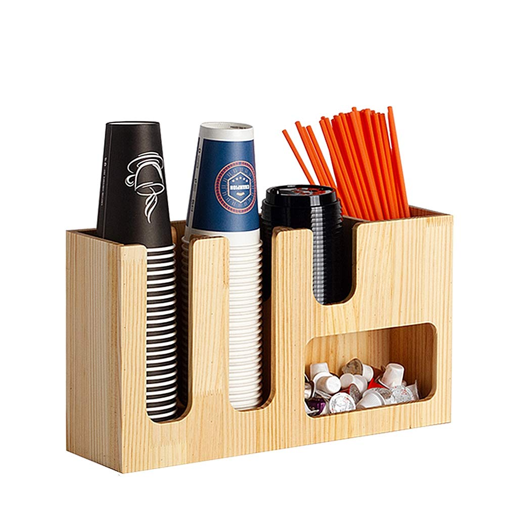 HOUSHIYU-521 Coffee Condiment Organizer 5 Compartments, Coffee Cup and Lid Holder Organizer, Arylic and Bamboo Wood Material, for Store, Office and Home,B
