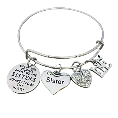 Charm Bracelet Personalized Bracelet Birthstone Bracelet Little Sister Bracelet Sisters Bracelet Birthday Gift Little Sister Gift