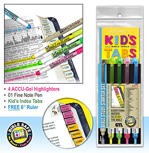 Bible Study Kit Starter Set for Kids Highlighter, Ruler, and
