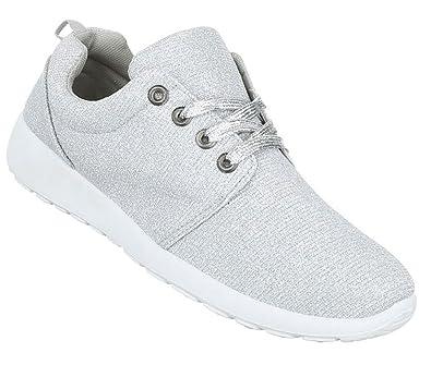 Damen Schuhe Sneakers Sportschuhe Turnschuhe Freizeitschuhe Silber 36 qHPAtD2CI