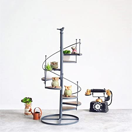 Escalera de 8 niveles Estanterías de flores Estantería de metal de hierro Estantería Tabla de madera para macetas de plantas Estantes de soporte Estantería de soporte Estantería de almacenamiento de j: Amazon.es: