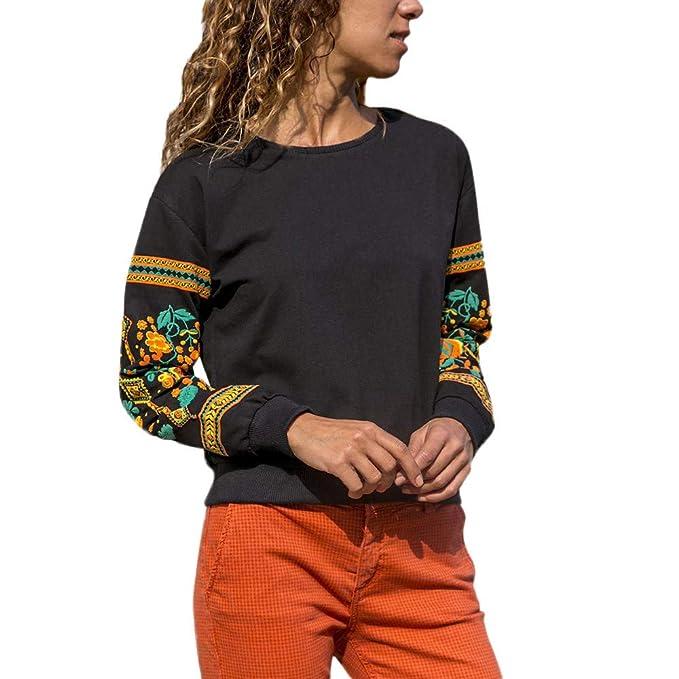 Beladla Manga Larga Mujer Casual ImpresióN Floral Delgado CáLida OtoñO E Invierno Blusas con Cordones Camiseta Tops para Adolescentes Chicas: Amazon.es: ...
