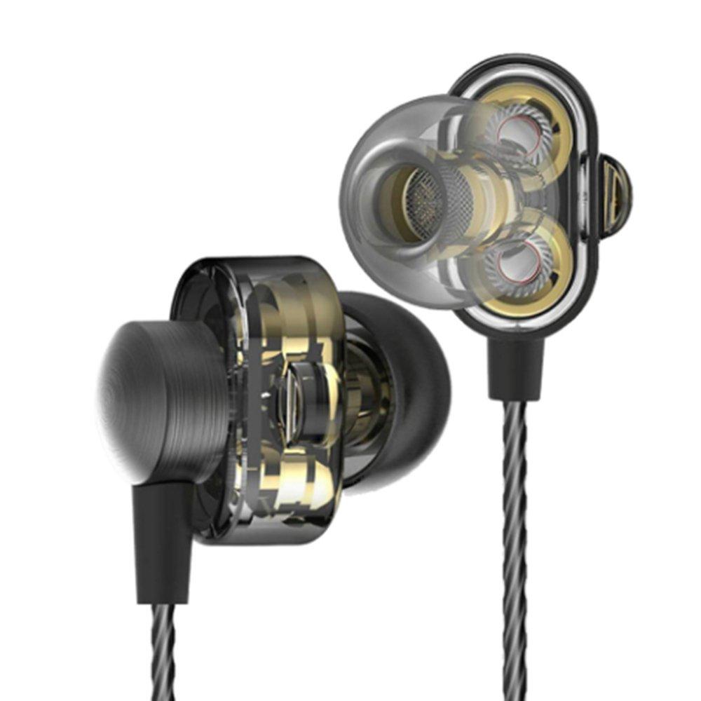 HiFiイヤホンイヤホンin ear noise isolationヘッドフォンスポーツイヤホンwithマイクMiniデュアルドライバー、ステレオバス、ボリュームコントロール DM8 With Mic earphone B075L9QWQ1 ブラック ブラック