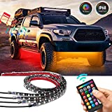 Led Strip Lights For car, Underglow Underbody Neon Strip Lighting Kit with 16 Color and IP68 Waterproof,Sound Active and RF Remote Control for Car Bumper/Car Interior/Car Rear/Car Bottom