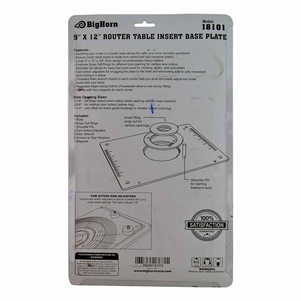 Big horn 18101 9 inch x 12 inch router table insert plate with guide big horn 18101 9 inch x 12 inch router table insert plate with guide pin snap rings amazon greentooth Images