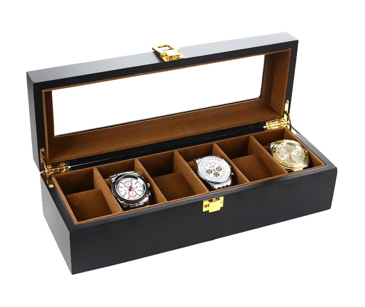 Autoark Wood 6 Watch Box with Jewelry Display Drawer Watch Case Organizer,Black,AW-024