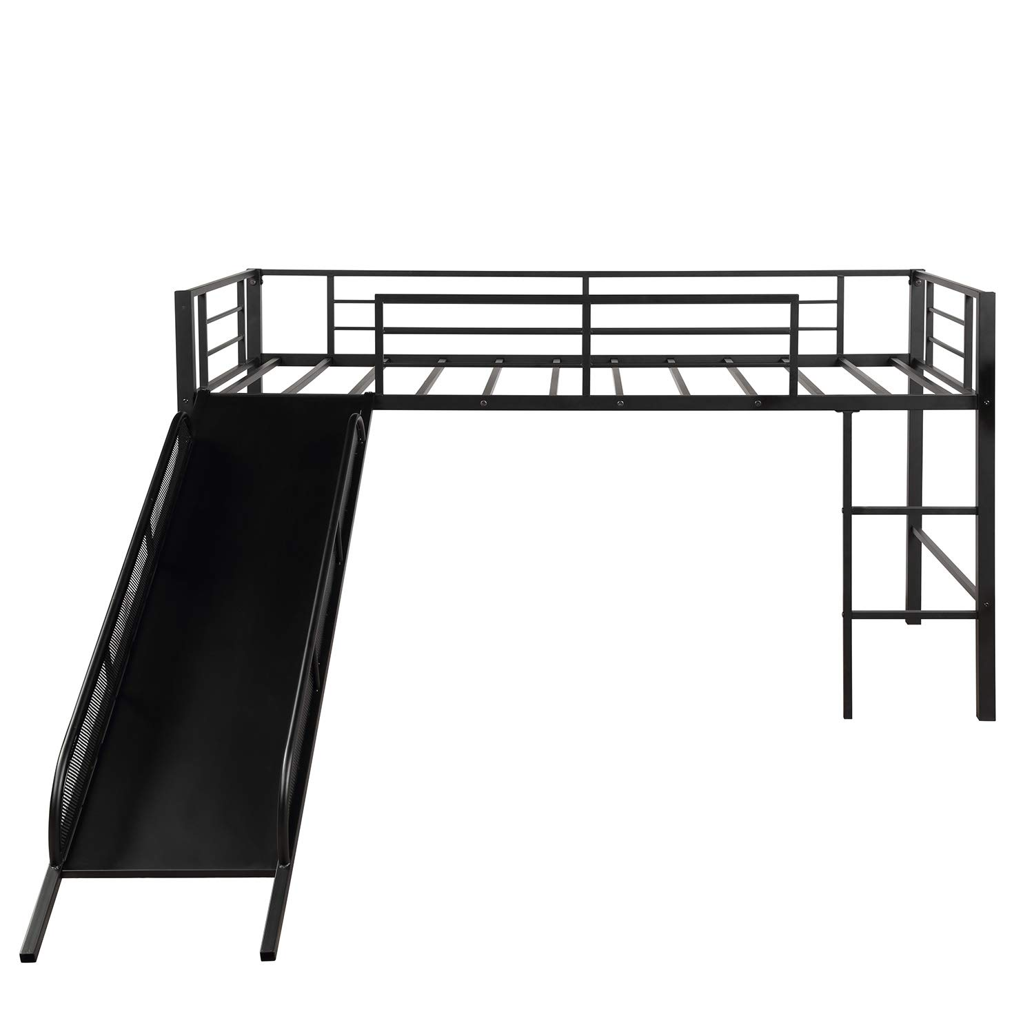 Hooseng, Twin Metal Bed, Low loft, Strong, Best Choice for Child,No Box Spring Needed, Three Colors Available Slide, DEEP Black