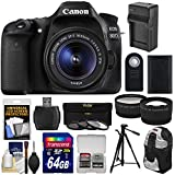 Canon EOS 80D Wi-Fi Digital SLR Camera & EF-S 18-55mm IS STM Lens with 64GB Card + Battery & Charger + Backpack + Tripod + Tele/Wide Lens Kit