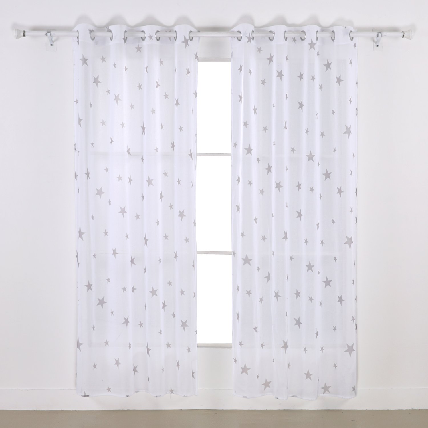 Amazon.com: Deconovo Christamas Sheer Panels Pair Sheer Curtain Cotton  Voile Curtains For Girls Room 52 X 63 Inch 2 Panels Light Taupe: Home U0026  Kitchen