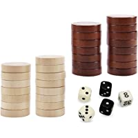 ASNEY Wooden Backgammon Pieces, Solid Wood Checker Pieces Set Board Game Table Chips and 5 Dices, Includes Storage Bag