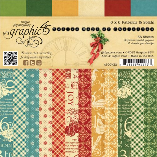 Graphic 45 12 Days of Christmas Patterns and Solids Pad 6 by 6-Inch