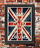 KCV29 Framed Vintage Style Union Jack Keep Calm And Play Drums Music Instrument Funny Poster Print Re-Print - A3