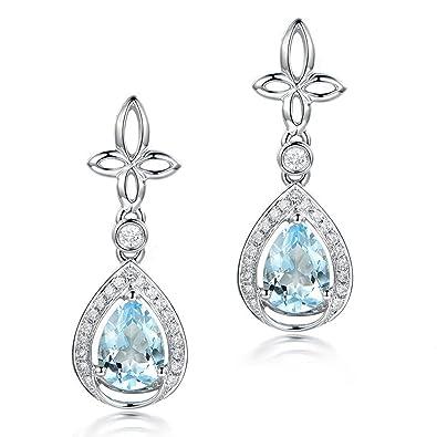 11fc3e39852 Amazon.com  Gnzoe Jewelry-925 Sterling Silver Women Dangle Earrings With  Waterdrop Blue Faux Topaz Decemebr Birthstone  Jewelry