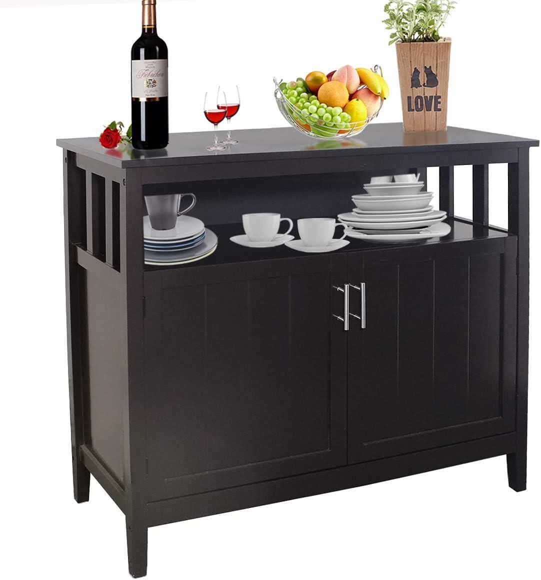 Buffet Cabinet Kitchen Sideboard Storage Cabinet Free Standing Cupboard Adjustable Shelf Brown Brown