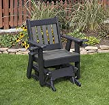 DARK GRAY-POLY LUMBER MISSION Poly Resin 2 FEET Patio Garden Traditional Glider with Cupholder arms Heavy Duty EVERLASTING - MADE IN USA - AMISH CRAFTED