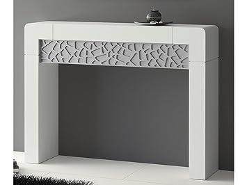 console meuble dentre vittro 120x90 cm blanc patin argent et tiroir relief argent