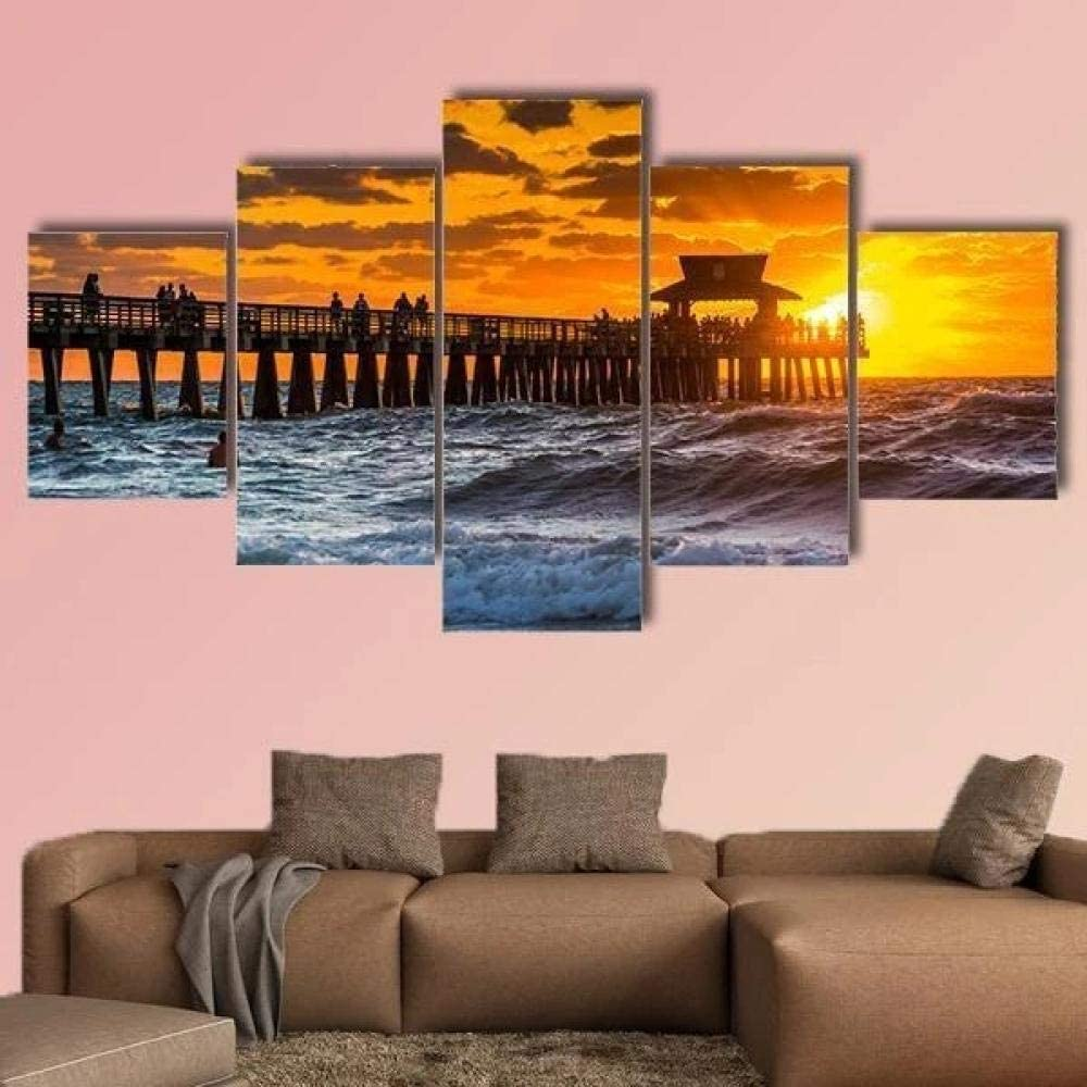 TOPJPG Canvas Wall Art Painting Pictures Sunset Fishing Pier Gulf Mexico Naples Decoration Wall Decor Bathroom Living Room Bedroom Kitchen Framed Ready to Hang