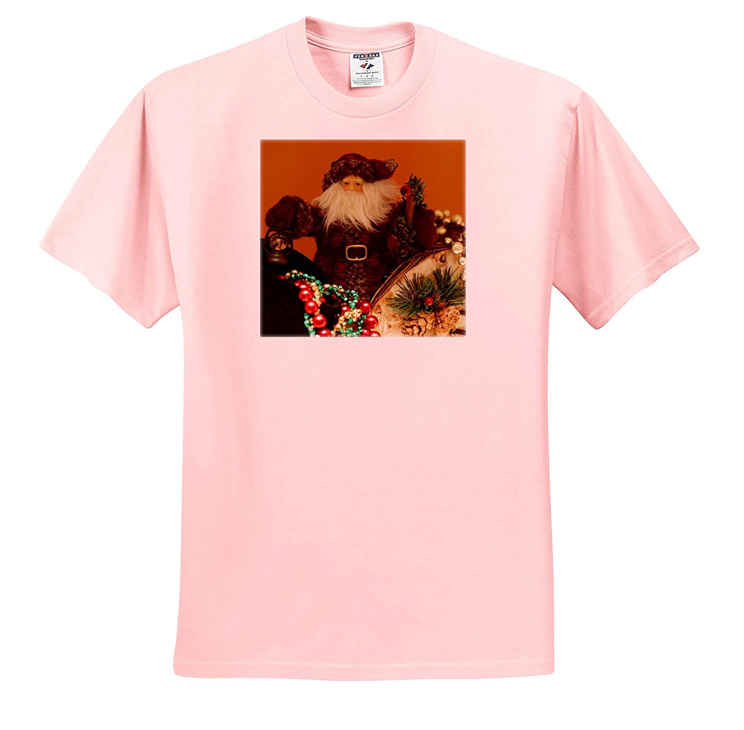 3dRose Stamp City Holiday - T-Shirts Photograph of a Vintage St Nick Sitting in his Sleigh for The Holiday