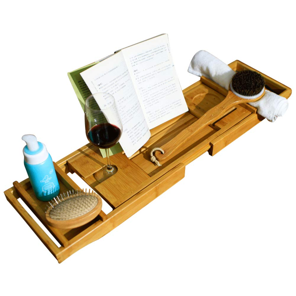 Bamboo Bathtub Caddy Tray,Natural,ecofriendly Wood Integrated Tablet Phone Wine Book Holders-a 13x73cm(5x29inch)