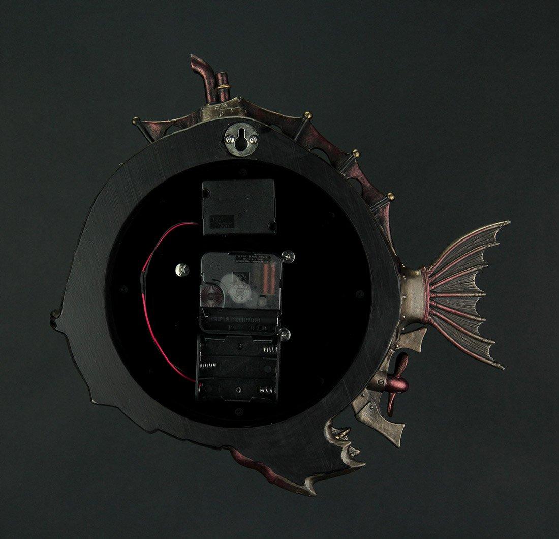 Resin Wall Clocks Steampunk Style Fish Submarine Wall Clock 12.5 X 12 X 2 Inches Bronze