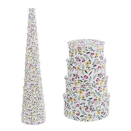 Cajas Forradas Blancas de cartón con Flores provenzales para decoración France - LOLAhome