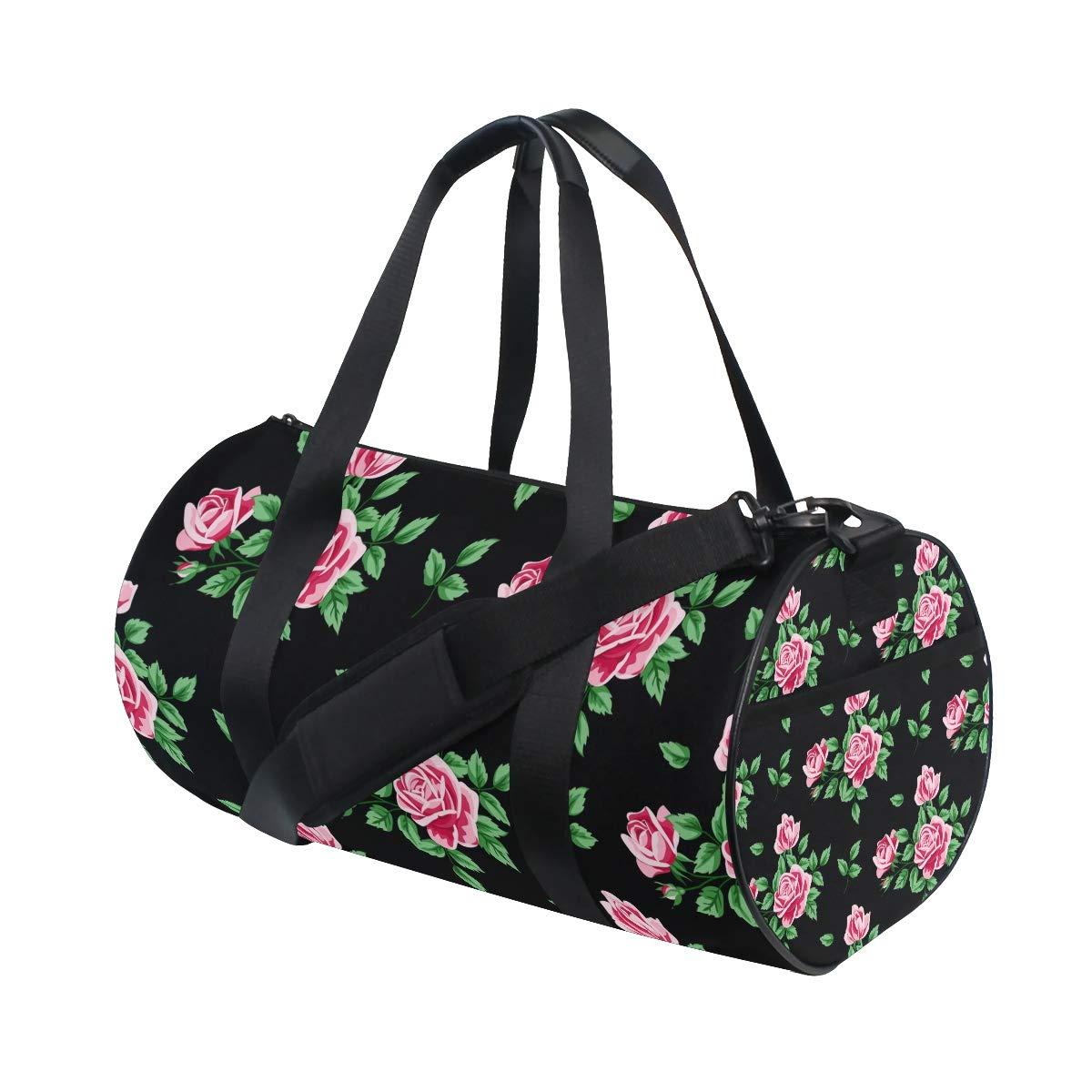 WIHVE Vintage Floral Roses Leaf Sports Gym Bag Travel Overnight Duffel Bag for Men and Women