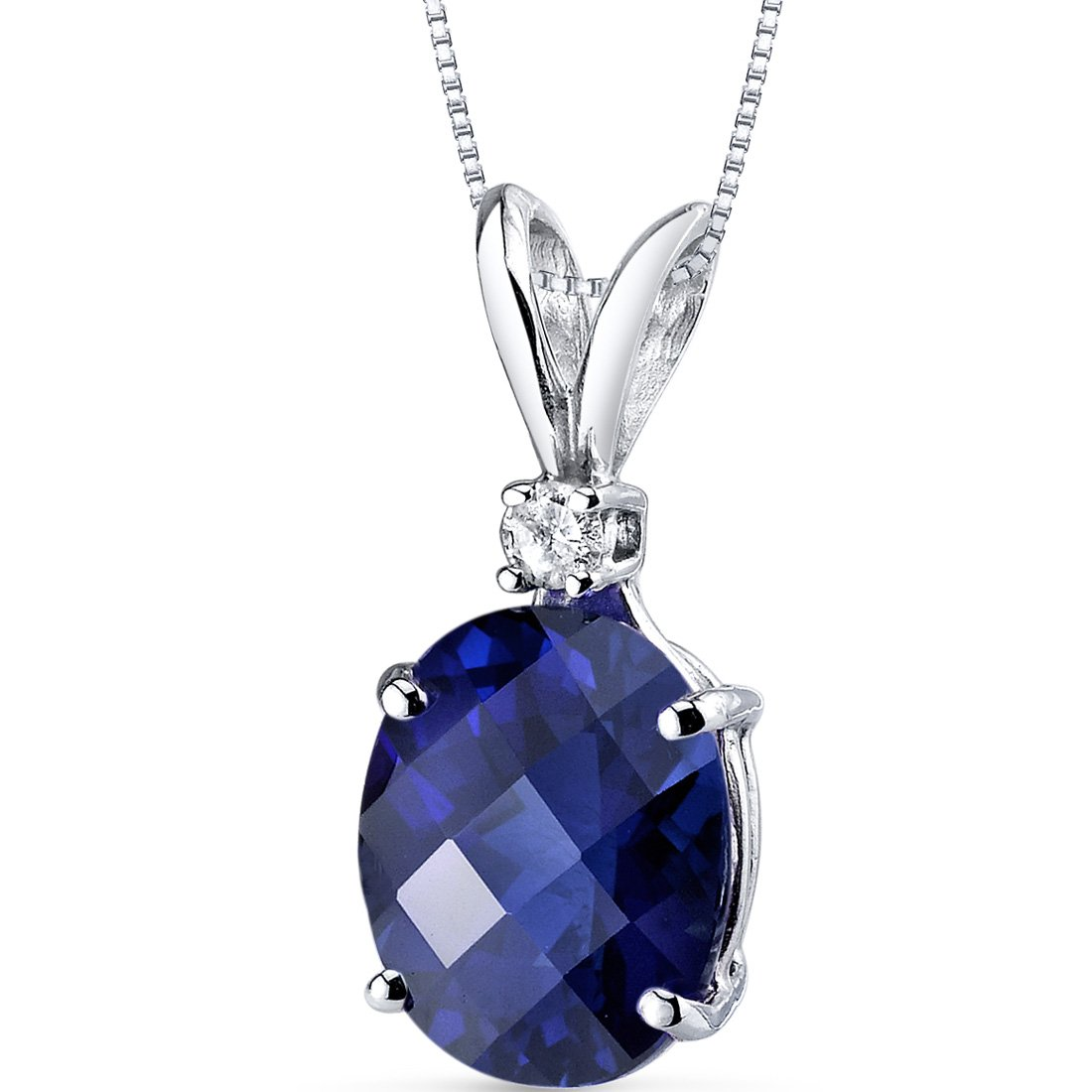 14 Karat White Gold Oval Shape 3.50 Carats Created Blue Sapphire Diamond Pendant by Peora