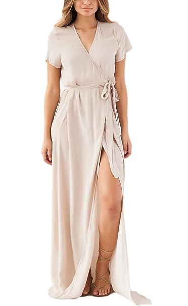 Mujer Vestidos De Playa Largos Verano Elegantes Manga Corta V Cuello Vestido Informales Con Abertura Vestir
