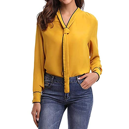 0496b20ca094a7 Elogoog-Halloween Women Womens Bow Tie Neck Long Sleeve Casual Office Work  Chiffon Formal Blouse Shirts Tops at Amazon Women s Clothing store
