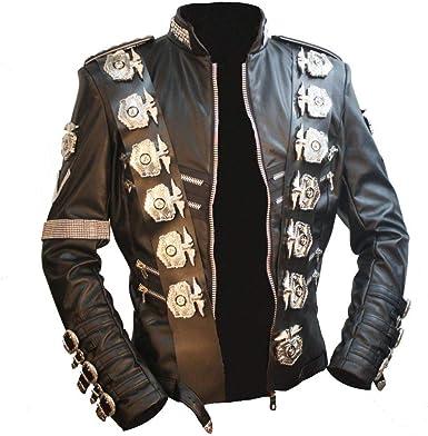 Amazon Com Michael Jackson Bad Tour Chaqueta De Piel Sintetica Japonesa De Acero Inoxidable Con Emblema De Aguila De Punk Estilo Informal Para Regalos Color Negro Clothing