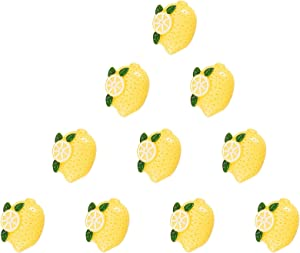 Airssory 20 Pcs Resin Flatback Cabochons Lemon Fruit Yellow Miniature Food Art Supply Decoden Charm DIY Scrapbooking Embellishment Phonecase Hair Clip Craft Jewelry Making - 32mm